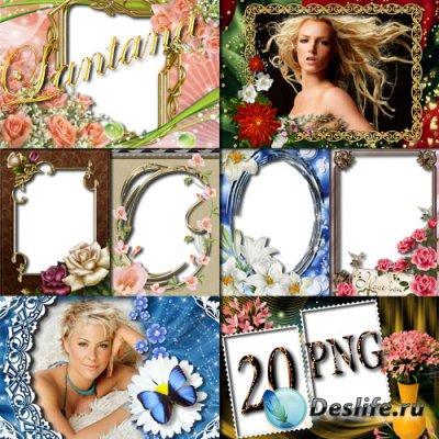 Рамки для фотошопа - Цветочный каскад