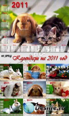 Набор календарей для фотошопа на 2011 год