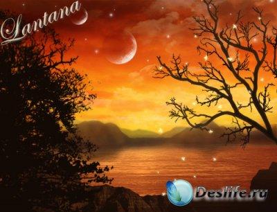 PSD исходник  - Осенний закат