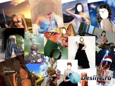 Женские костюмы для фотошопа в PSD