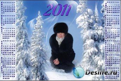 Календарь для фотошопа - Зимний лес на 2011 год