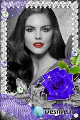 Рамка для фотошопа - Синяя роза