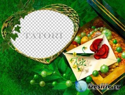 Рамочка для фотошопа - Зелёная шкатулка