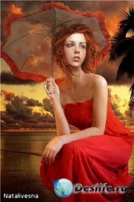 Женский костюм для фотошопа –  На берегу моря