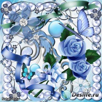Скрап-набор – Нежно голубой