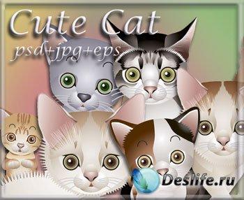 Векторный клипарт с милыми котятами
