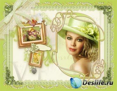 Рамка для фотошопа - Девушка в шляпе