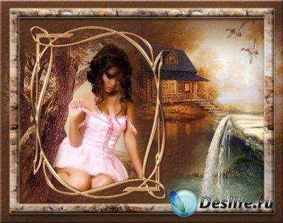 Рамка для фотошопа - Девушка у ручья