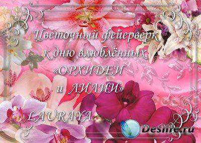 Клипарт растровый – Орхидеи и лилии ко дню влюблённых