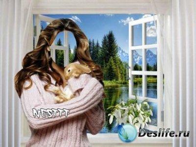 Костюм для фотошопа - Девушка с кроликом у окна