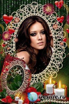 Рамка для фотошопа - Розы и свечи