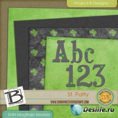 Скрап-набор - Green Alpha / Зеленый алфавит