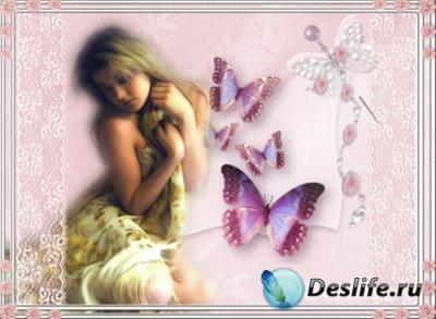 Рамка для фотошопа - Девушка с бабочками