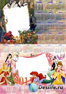 Детские календарики для фотошопа на 2011 год