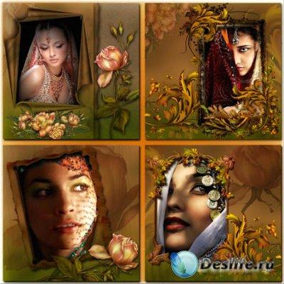 Рамки для фотошопа - Восточные красавицы