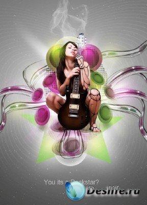 Исходник для фотошопа - Постер рок-звезды