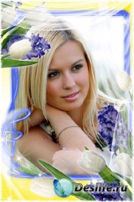 Рамка для фотошопа - Белые тюльпаны