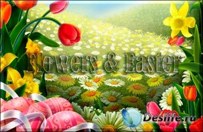 PSD исходник для фотошопа - Flowers & Easter