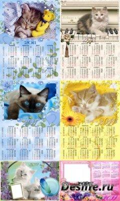 Календари для фотошопа - Кошки