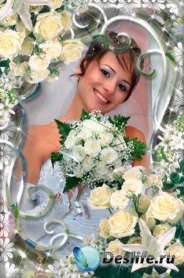 Рамка для фотошопа - Свадебные цветы