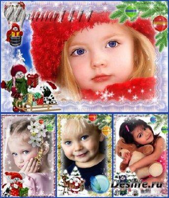 Детские зимние новогодние рамки для фотомонтажа