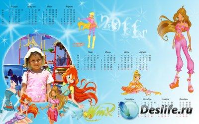 Рамка - календарь для Фотошопа Winx на 2011 год