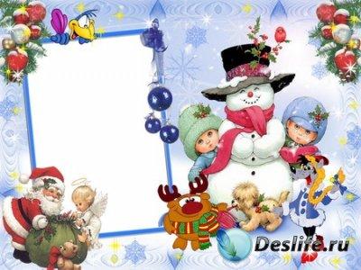 Детская Зимняя Рамка для фотошопа в PSD