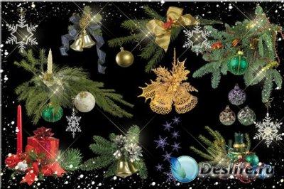 Клипарт для фотошопа – Новогодние украшения №2