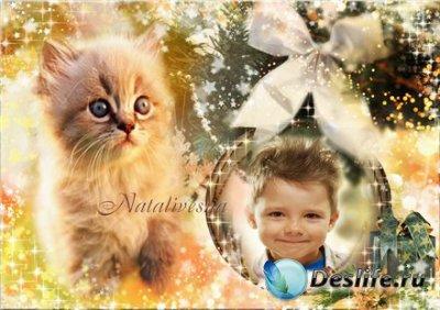 Рамка детская для фотошопа – Год котенка