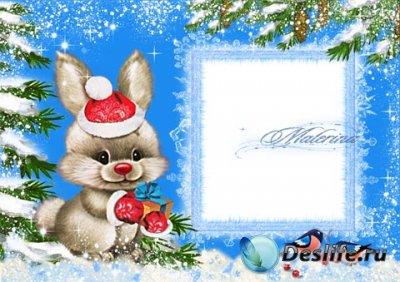 Детская новогодняя рамка для фотошопа - Кролик-пушистик 2