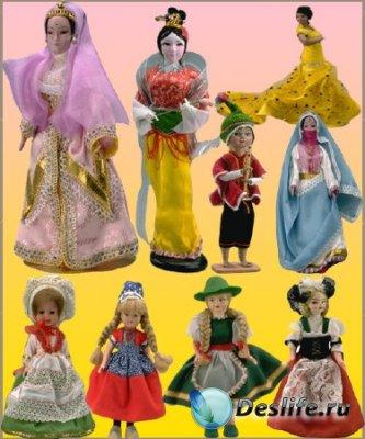 Куклы разной национальности - Клипарт