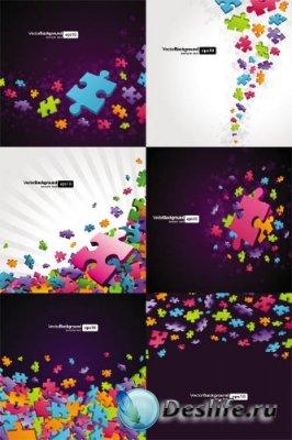 Векторный клипарт - Цветные пазлы