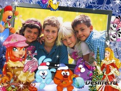 Новогодняя Детская Рамка для фотошопа в PSD