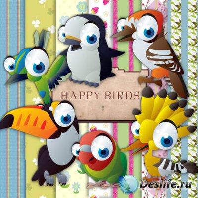 Клипарт для фотошопа - Счастливые птенцы