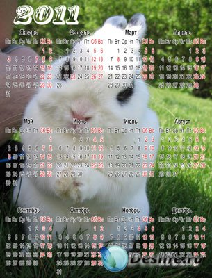 Календарь на 2011 год - Год белого кролика