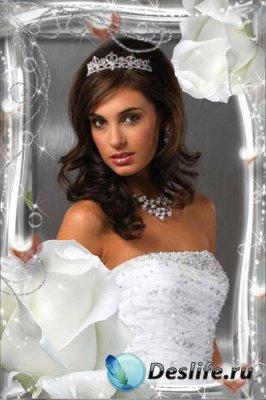 Рамка для фотомонтажа - Белоснежные розы