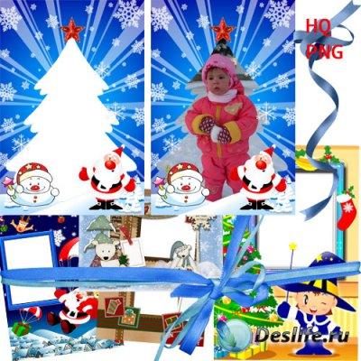 Красивые детские зимние рамки для фотошопа