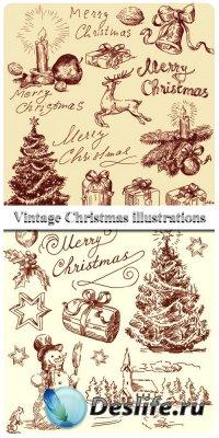 Винтажные Рождественские Иллюстрации