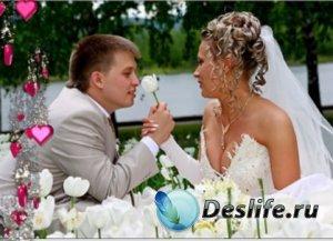 Свадебный футаж - Сыпятся сердечки с блеском сбоку