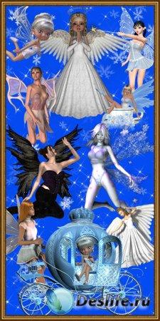 Большой набор клипарта ангелов и феечек