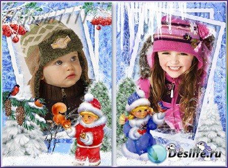 Детские рамки для фотошопа - Зимние