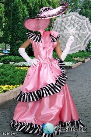 Детский костюм для фотошопа – Девочка в розовом