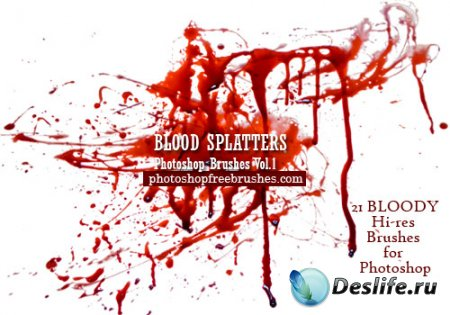 Кисти для фотошопа - 21 Blood Splatter Photoshop Brushes. Part 1