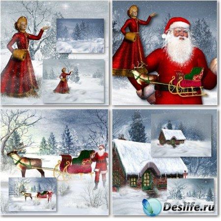Рождественские и новогодние фоны для фотошопа