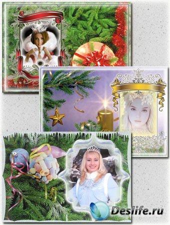 Три новогодние рамки для фотошопа