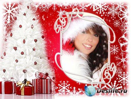 Рамка для фотошопа с новогодними подарками