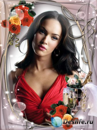 Рамка для фотошопа - Розы с шампанским