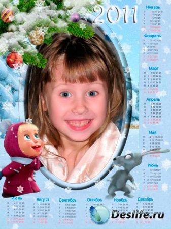 Календарь для фотошопа - Маша и Медведь
