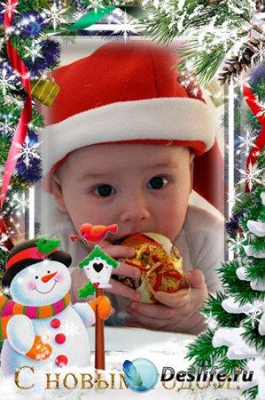 Новогодняя детская рамка для фотошопа – Смешной снеговик