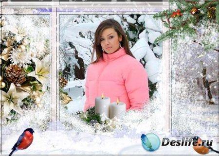 Новогодняя рамка для фотошопа - Фото в окне